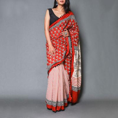 Polka Dotted Cotton Chanderi Saree