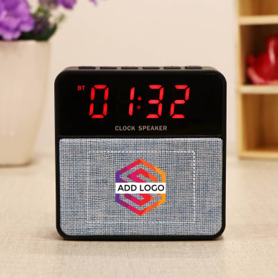 Portable Alarm Clock Cum Speaker - Customized with Logo