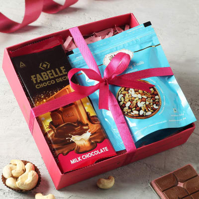 Premium Chocolate and Cashew Nuts in Tray