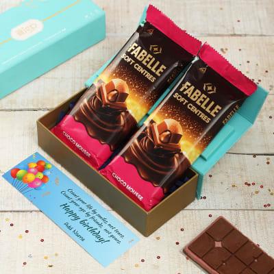 Premium Chocolate Bars with Personalized Birthday Card