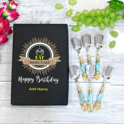 Premium Dessert Spoons in Birthday Personalized Box (Set of 6)