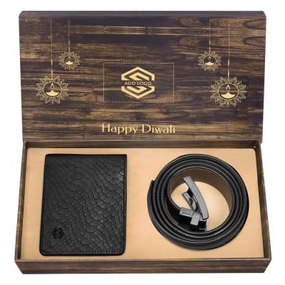 Premium Gift Set of Black Wallet & Belt for Men- Customized with Diwali Theme & Logo