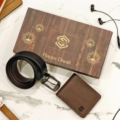Premium Gift Set of Brown Wallet & Belt for Men- Customized with Diwali Theme & Logo