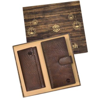 Premium Gift Set of Ladies Clutch & Unisex Travel Wallet- Customized with Diwali Theme & Logo