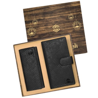 Premium Gift Set of Ladies Clutch & Unisex Travel Wallet in Black- Customized with Diwali Theme & Lo