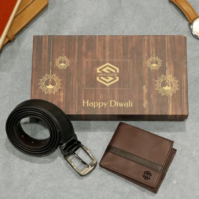 Premium Gift Set of Wallet & Belt for Men- Customized with Diwali Theme & Logo