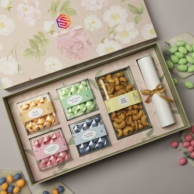 Premium Gourmet Gift Box With Scroll – Customized With Logo