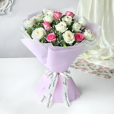 Pretty In White Pink Bouquet