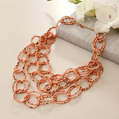 Pretty Peach Strings Necklace
