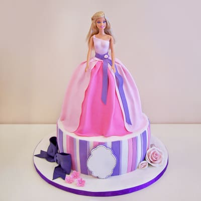 Pretty Pink Barbie Fondant Cake (2.5 Kg)