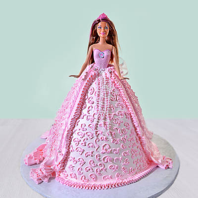 Princess Barbie Cream Cake (Eggless) (2 Kg)
