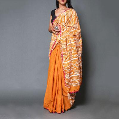 Printed Cotton Saree in Patli Pallu Design