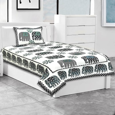 Printed Single Bed Bedsheet with Pillow Cover