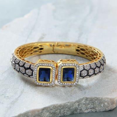 Prussian Blue Stone Bracelet Designed With CZ