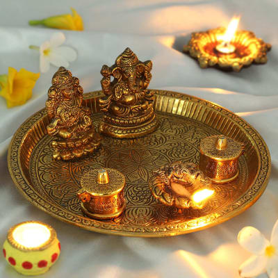Puja Thali with Mata Laxmi & Lord Ganesha Idols