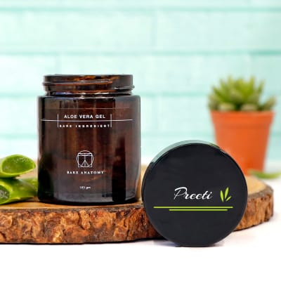 Pure Aloe Vera Gel in Container with Personalized Lid