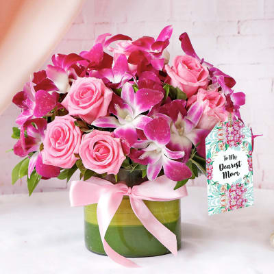 Purple Orchids & Roses in Round Vase For Mom