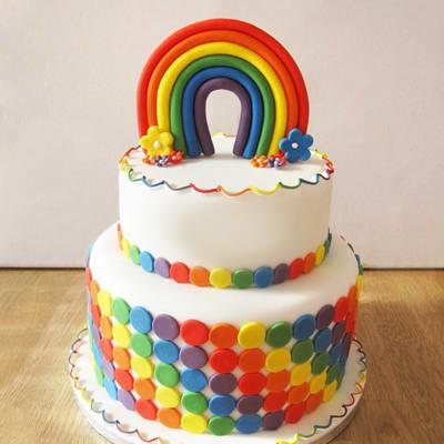 Rainbow 2 Tier Birthday Fondant Cake (Eggless) (3.5 Kg)