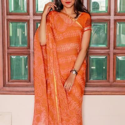 Rajasthani Bandhej Chiffon Designer Saree