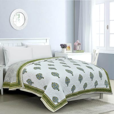 Rajasthani Block & Booti Printed Double Bed Quilt
