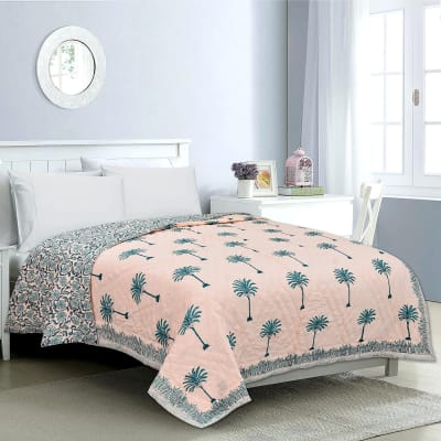 Rajasthani Block & Booti Printed Quilt for Double Bed