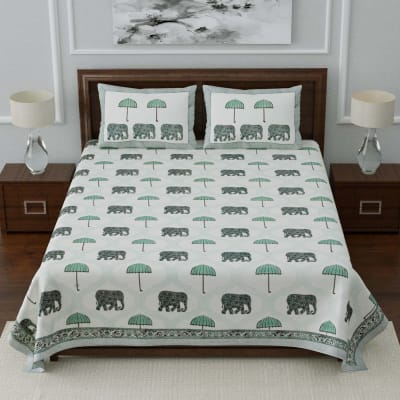 Rajasthani Dabu Printed Double Bedsheet with Pillow Covers