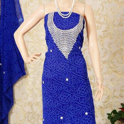 Rajasthani Gota Work Blue Bandhani Kurti Material