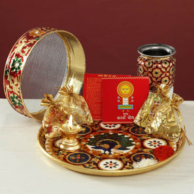 Rajasthani Meena Work Thali, Karwa, Chalni with Puja Needs