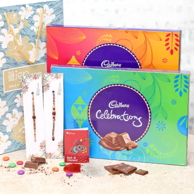 Rakhi Combo with Celebration Chocolate Boxes