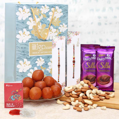 Rakhi Hamper with Gulab Jamun and Chocolates