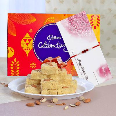 Rakhi with Cadbury Celebrations & 500g Soan Papdi