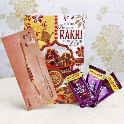 Rakhi with Greeting Card & Three Dairymilk Chocolates