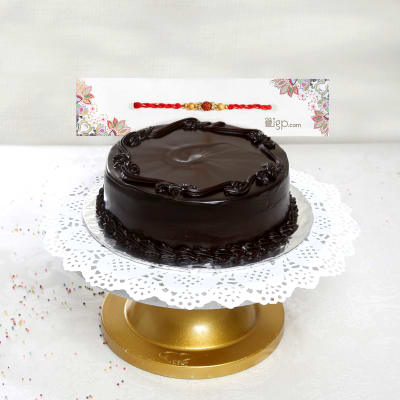 Rakhi With Half Kg Round Shape Dark Chocolate Cake