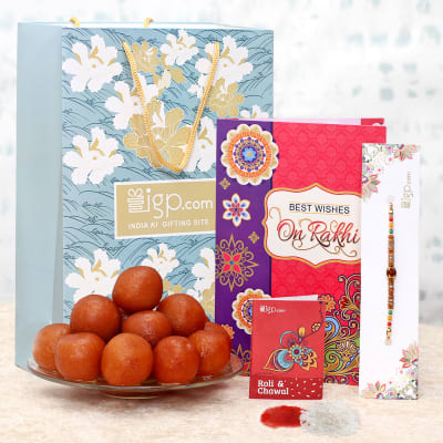 Rakhi with Sweets and Greeting Card Hamper