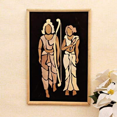Ram & Sita Wooden Relief Painting