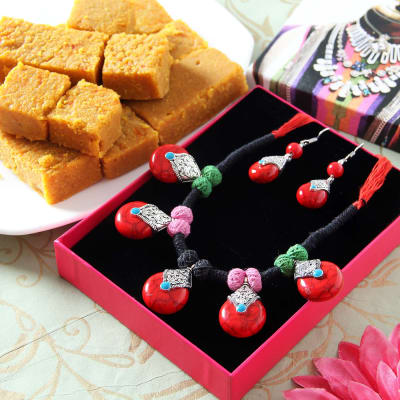 Red and Green Designer Necklace Set with Besan Barfi in Gift Box