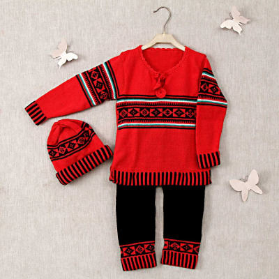 fae61b4075f Red   Black Woolen Sweater-Pant Set With Cap