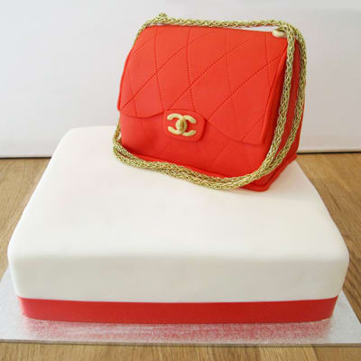 Red Chanel Handbag Fondant Cake (Eggless) (5 Kg)