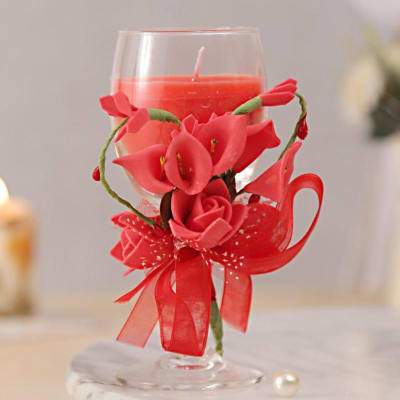 Red Love Glass Candle