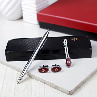 Red Pen With Cufflinks And Tie Pin