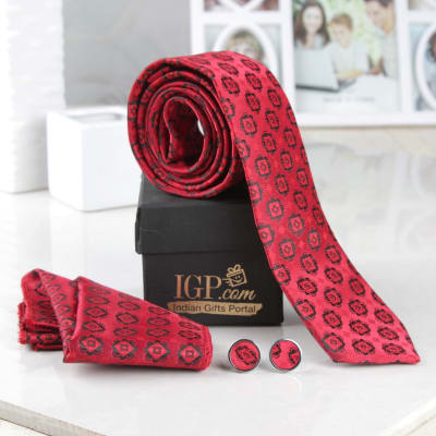Birthday gifts for husband best birthday gift ideas for husband red printed tie with pocket square cufflinks hamper negle Images