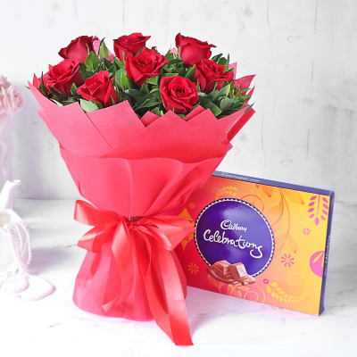 Red Rose Bouquet with Cadbury Celebrations