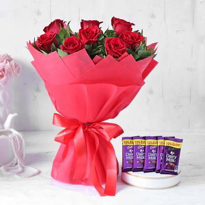 Red Rose Bouquet with Cadbury Chocolates