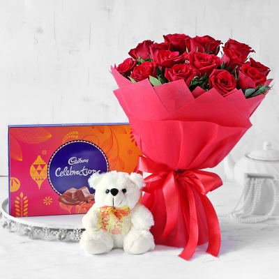 Red Rose Bouquet with Teddy & Cadbury Celebrations
