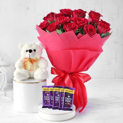 Red Rose Bouquet with Teddy & Cadbury Chocolates