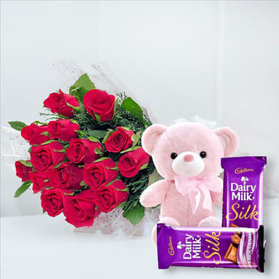 RED ROSES CHOCOLATES AND TEDDY