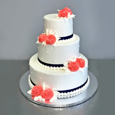 Red Roses with Pearls Fondant Wedding Cake (5 Kg)