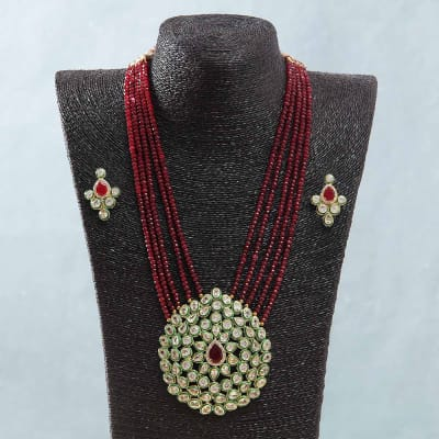 Red Semi Precious Stone Work Kundan Necklace Set