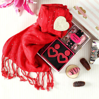 Red Stole with Heart Shaped Earrings in Gift Box