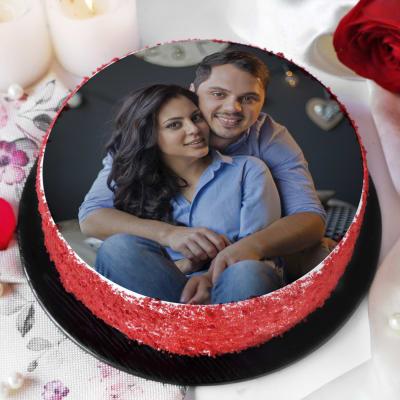 Red Velvet Photo Cake for Couple (Half Kg)